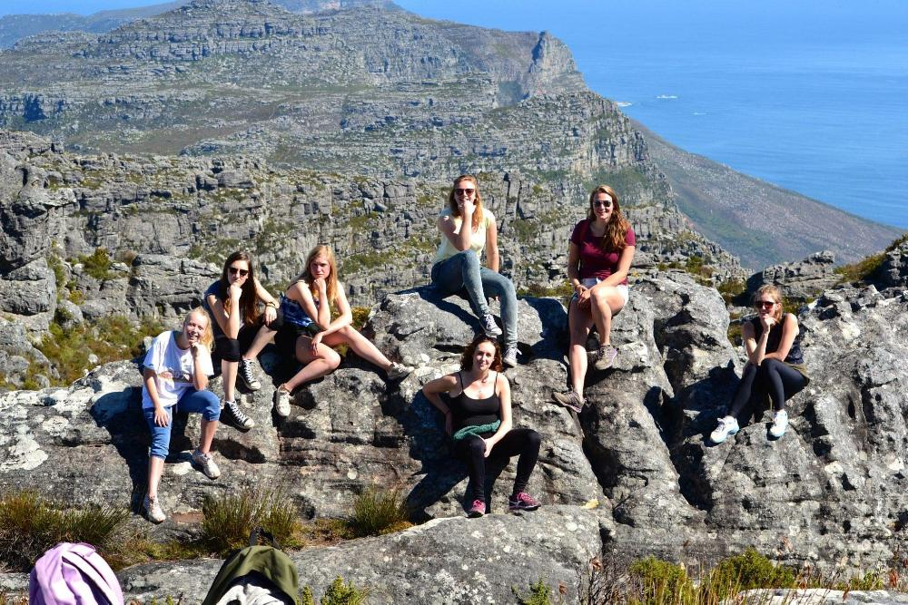 Group of Wheaton students atop Table Mountain