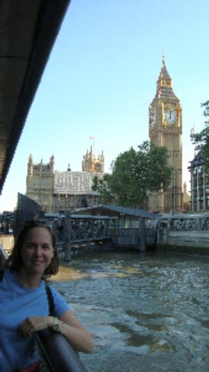 Wheaton staff member in London, with Big Ben in background