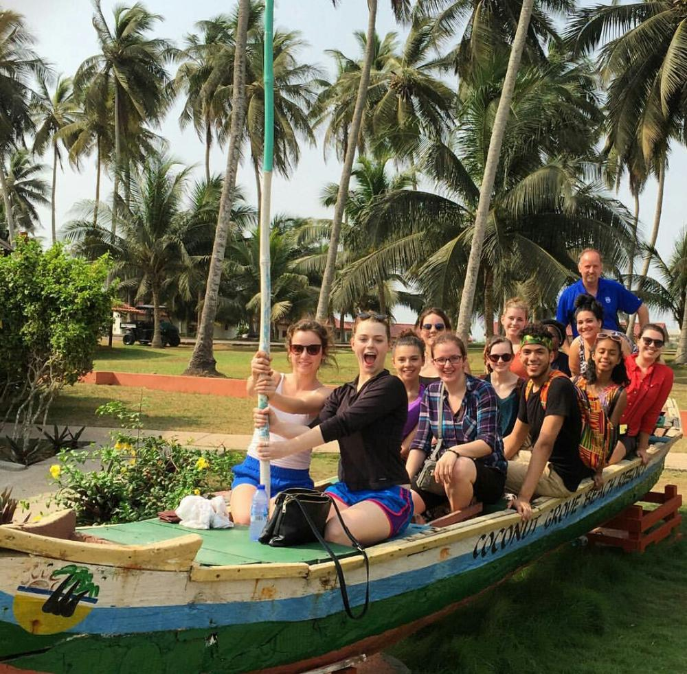 Group Photo of student on a boat