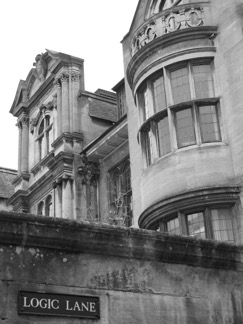 a black and white photo of a building in Oxford